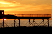 Sun setting over the sea from Aberystwyth