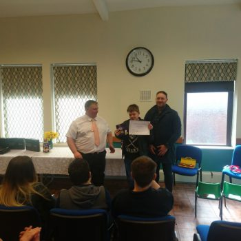 One learner receives his certificate of achievement from Ex Welsh Rugby International Morgan Stoddart