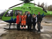 Jenna and her Dad with the air ambulance crew